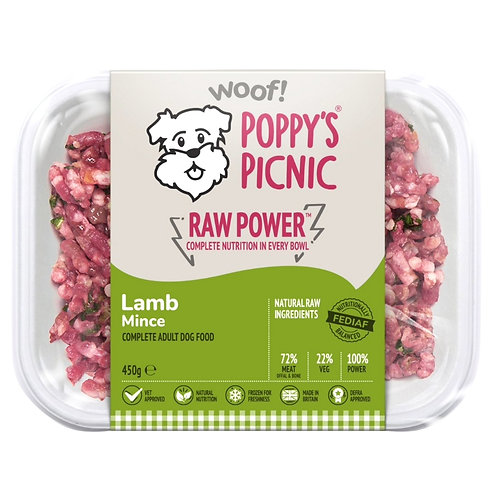 Poppys picnic 450g biodegradable tray of raw dog food in lamb flavour for working dog