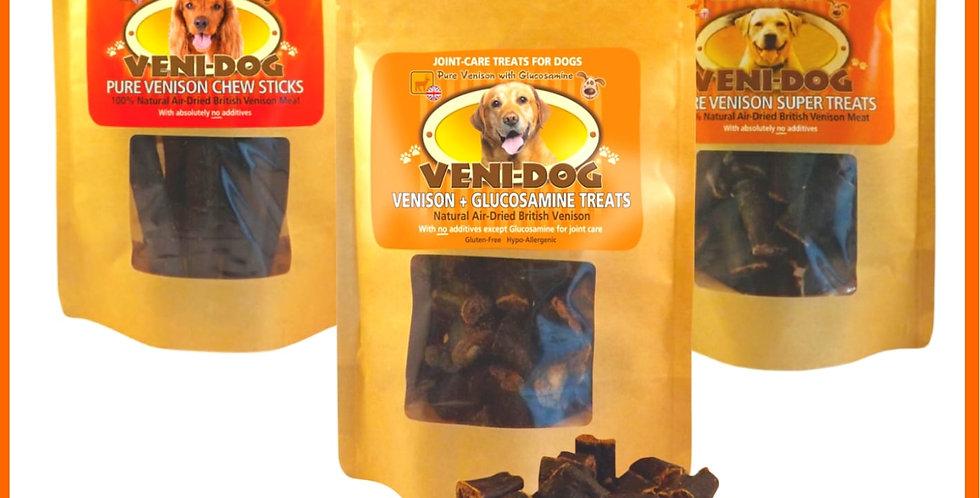 VENI-DOG raw dog treats for pet dog, multipack of 3 jerky packets venison