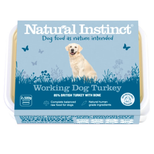 Natural Instinct Turkey Formula 1kg tub for working dogs raw food