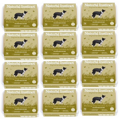 Natural Instinct Chicken and Tripe 12kg multipack of 12 trays for raw working dog formula fed food