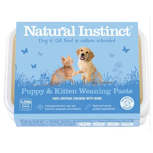Natural Instinct raw dog food puppy and kitten weaning paste in 2 x 500g trays natural