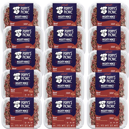 15 trays of might mince poppys picnic beef pet dog raw food formula in muiltipack
