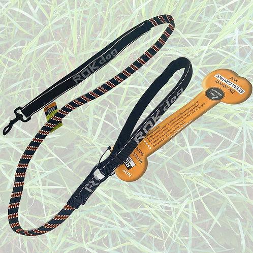 ROK dog leash - orange and black with light reflective
