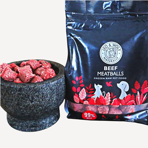 Leo and wolf Nutriment Beef meatballs 1kg raw dog food