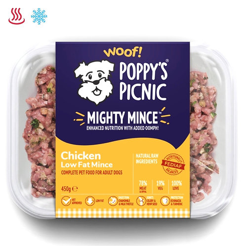 Poppy's Picnic Mighty Chicken quality natural raw dog food in tray