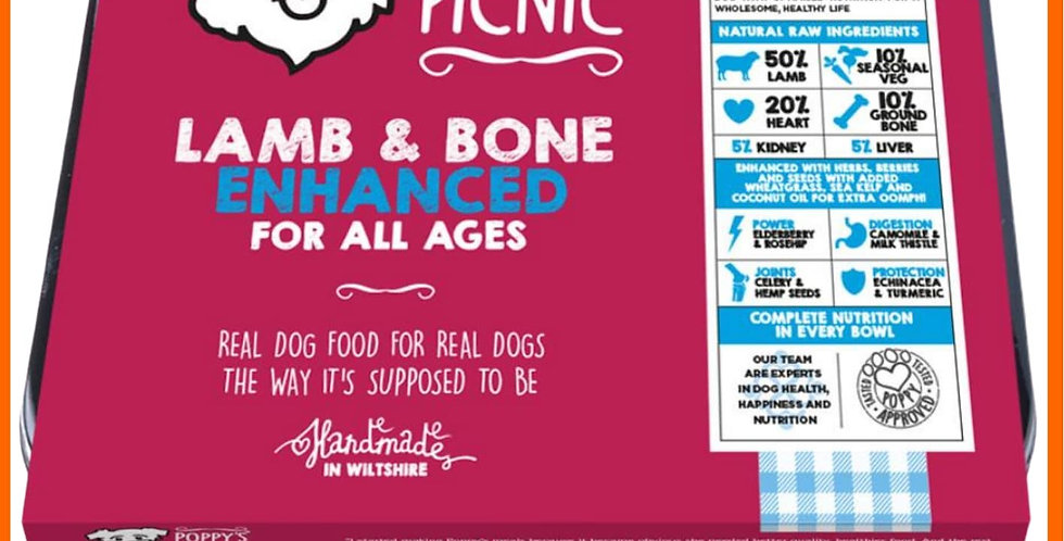 Poppy's Picnic Raw BARF Lamb enhanced for dogs in retail tray with Free Delivery