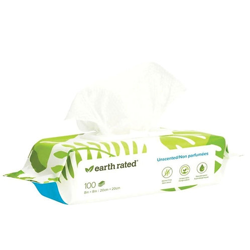 Earth Rated Compostable Dog Wipes 100 Unscented