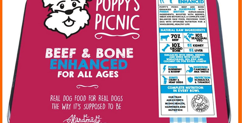 Poppy's Picnic beef enhanced Raw Dog Food in packaging tray 450g