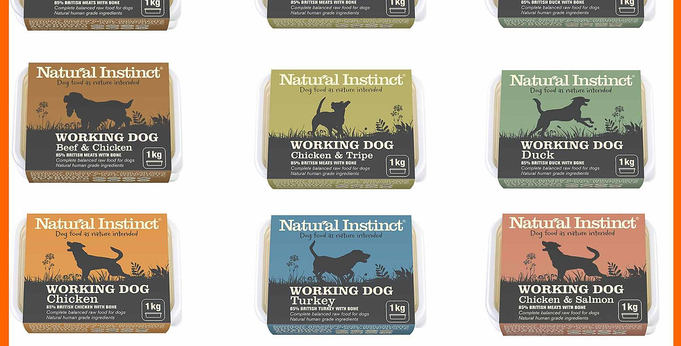Natural Instinct 12kg Large rainbow raw dog food selection
