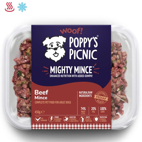 Poppy's picnic mighty mince beef 450g for dogs in retail packaging