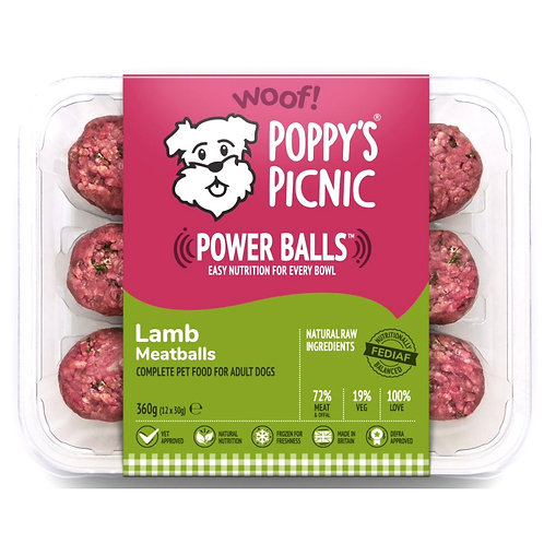 Poppy's picnic power balls lamb mince meat balls raw for dogs