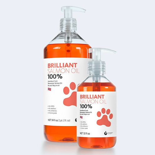 Brilliant Salmon oil for dogs in two bottle sizes