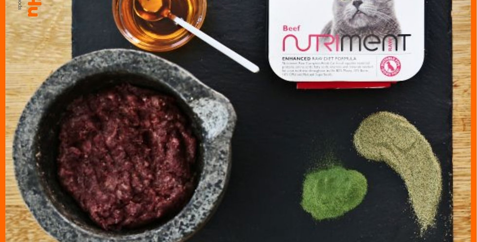 Dinner for Cats by Nutriment in a 175g tray raw beef barf formula raw diet