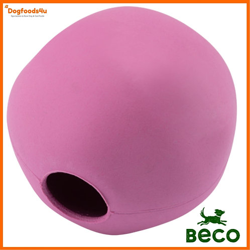 Beco Natural rubber ball for dogs in bright pink - eco friendly toy