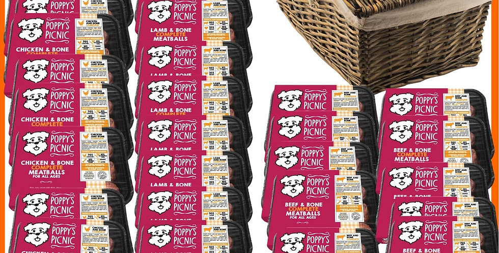 Poppy's Picnic - 32 Trays of 360g Raw Dog food formula meatball selection