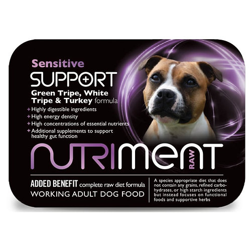 Nutriment Sensitive formula retail packaging tray for raw BARF doing food formula