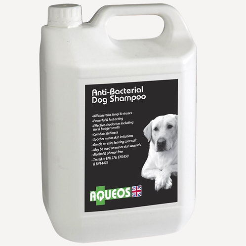 Aqueos dog shampoo in 5 litre commercial groomers bottle