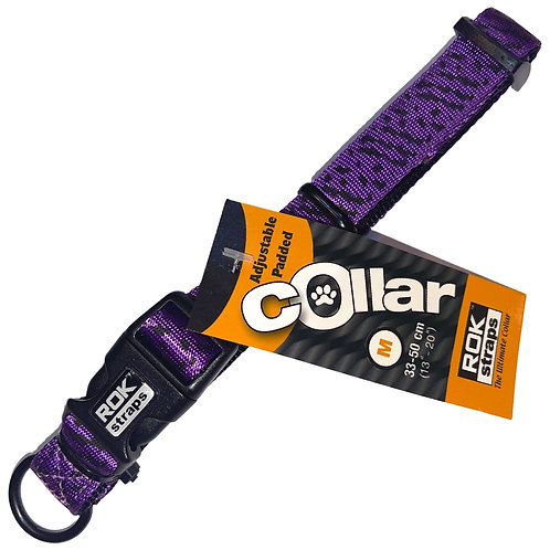 ROK Dog head collar for dogs in purple and black reflective