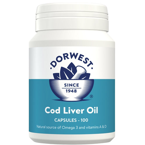 Front of Dorwest bottle of 100 cod liver oil tablets for raw fed dogs
