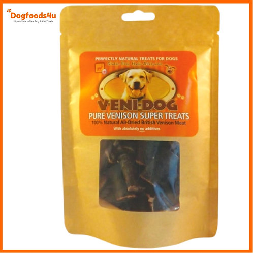 Veni-dog venison dehydrated natural treats for dogs in retail packet