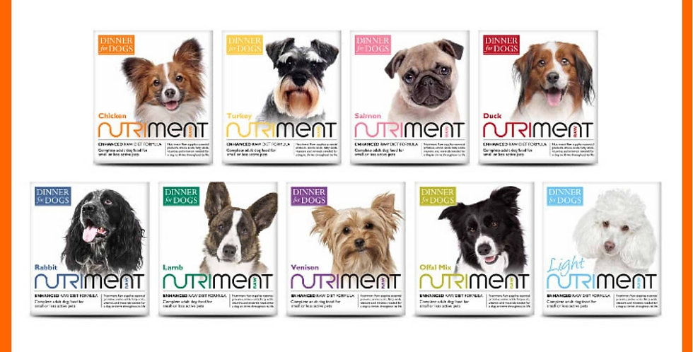 Nutriment Dinner for Dogs 20 tray multi set raw dog food