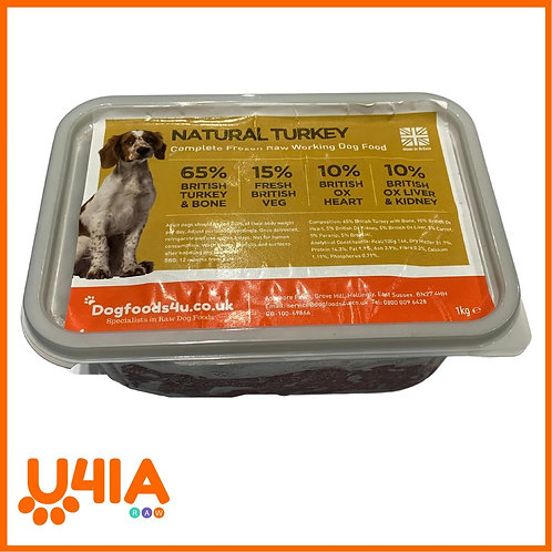 U4IA Turkey raw dog food formula in 1kg tub
