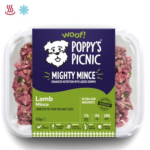 Poppys picnic mighty lamb mince 450g for dogs