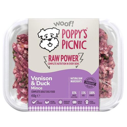 Poppys picnic raw power venison and duck working dog formula  working dog