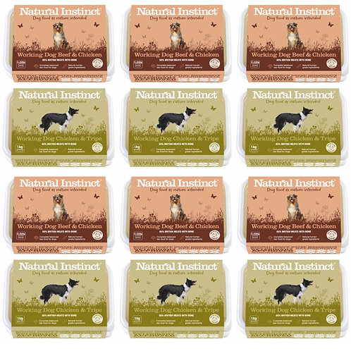 Natural Instinct 12kg multipack of raw working dog food Chicken and Beef and Chicken and Tripe for dogs