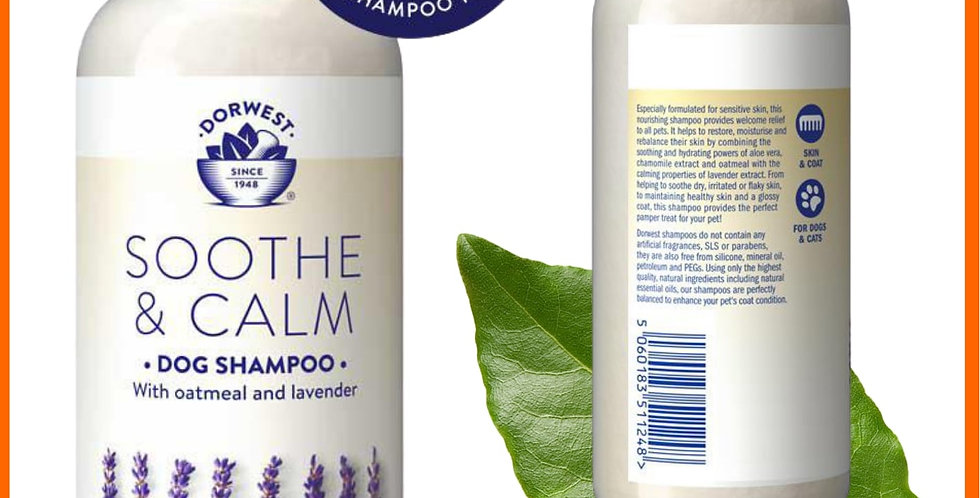 Dorwest Soothe and calm dog shampoo in bottle for pets