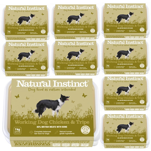 Natural Instinct Chicken and Tripe 9kg multipack raw frozen dog food for working dogs in tubs of 1kg
