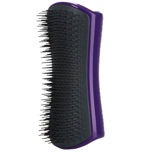PetTeezer dog grooming brush in charcoal and purple colour