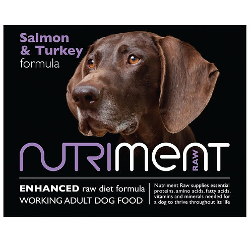 Nutriment Raw salmon and turkey for dogs, outside packaging box