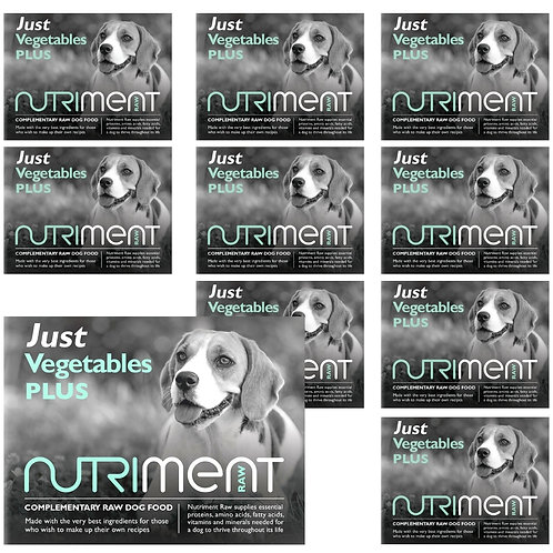 Nutriment Just Vegetables plus raw for dogs, 12 500g trays with total weight of 6kg raw food