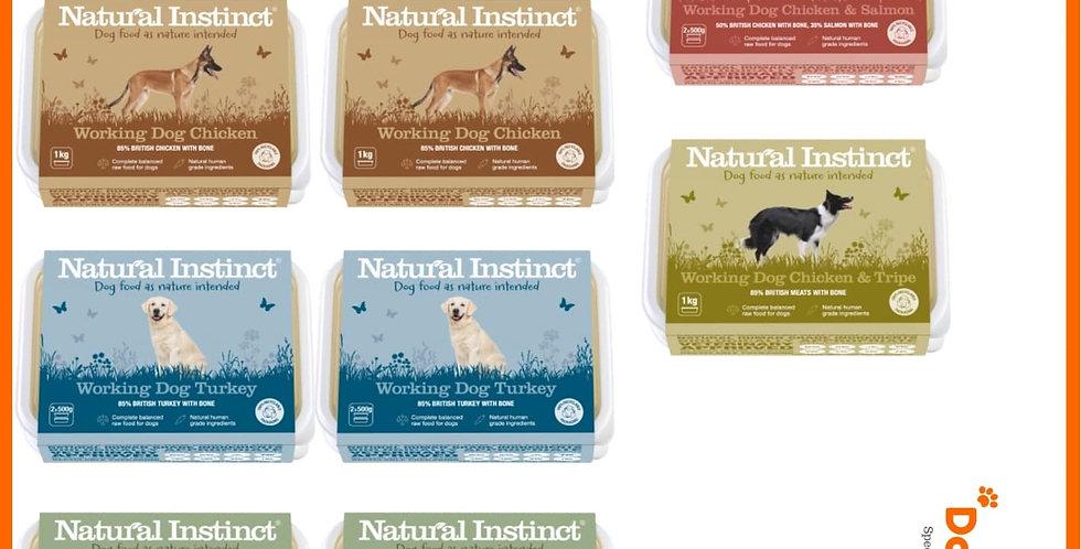 Natural Instinct 10kg rainbow mixer raw dog food BARF in 1kg tubs