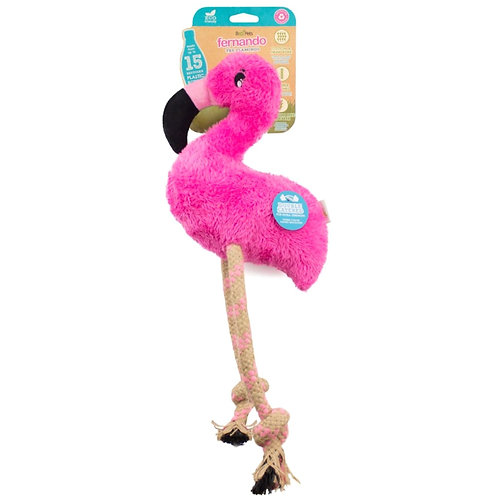 Beco pets Flamingo Dog Toy recycled 2 material hemp