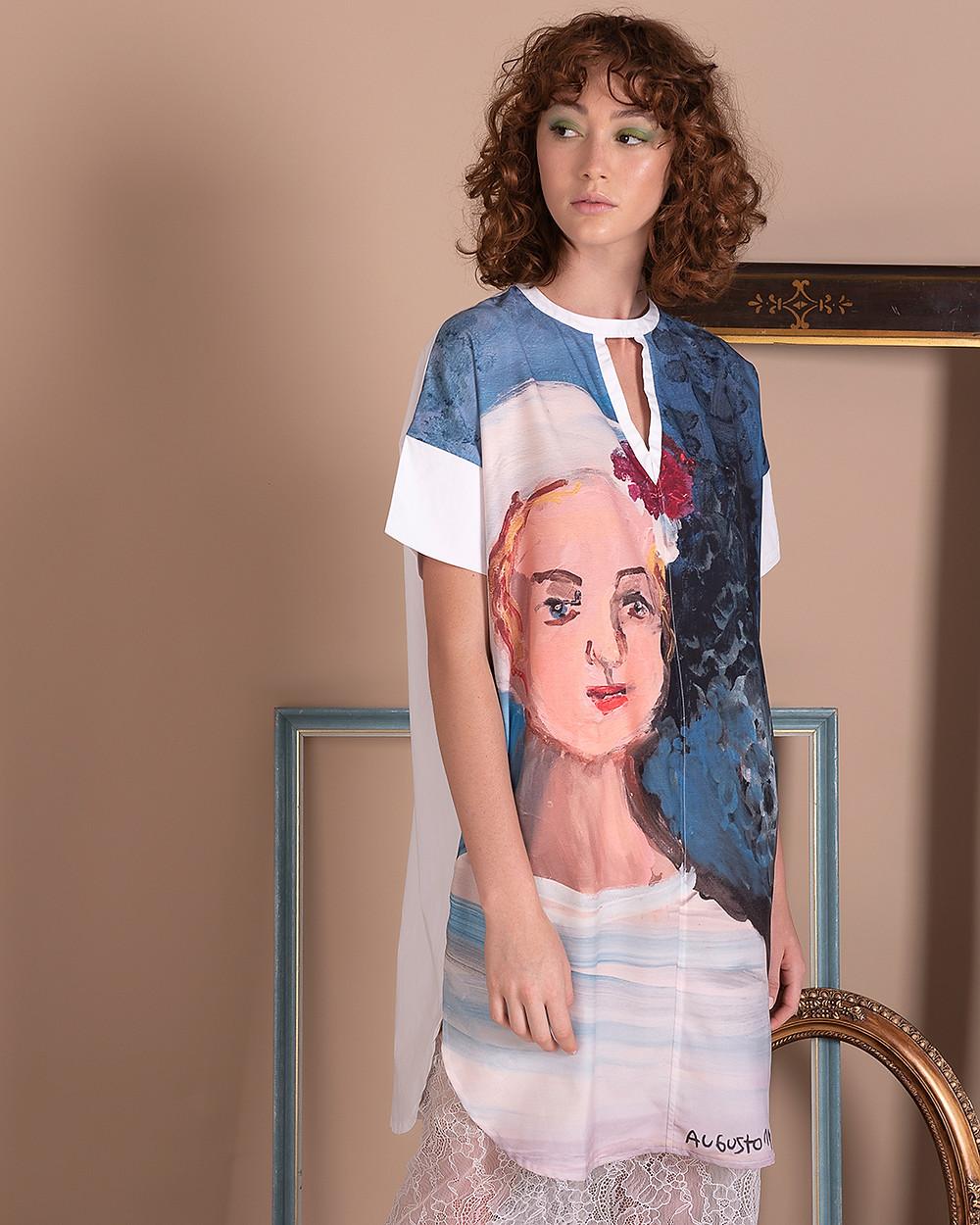 Camisa Sui Generis com intervenção artística do Augusto, membro da Associação Contato.