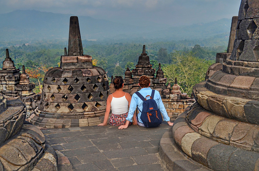 Romantic view from Borobudur temple in Java, Indonesia