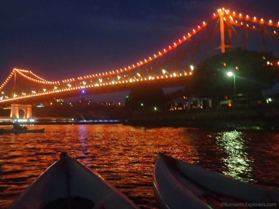 With our kayaks side by side, we took a break from paddling to take in this stunning view of the Story Bridge