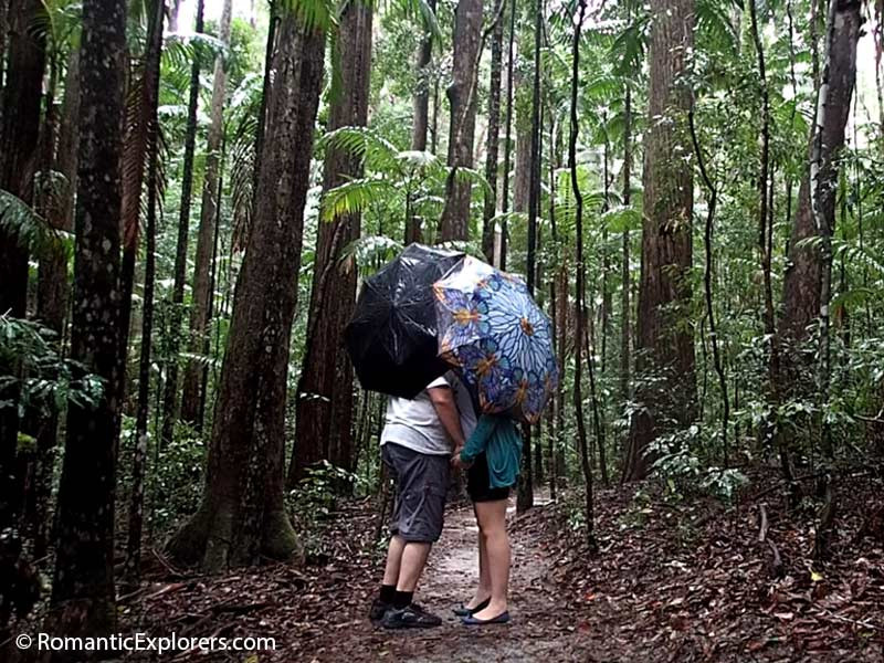 Kisses in the rain during our romantic getaway to Fraser Island