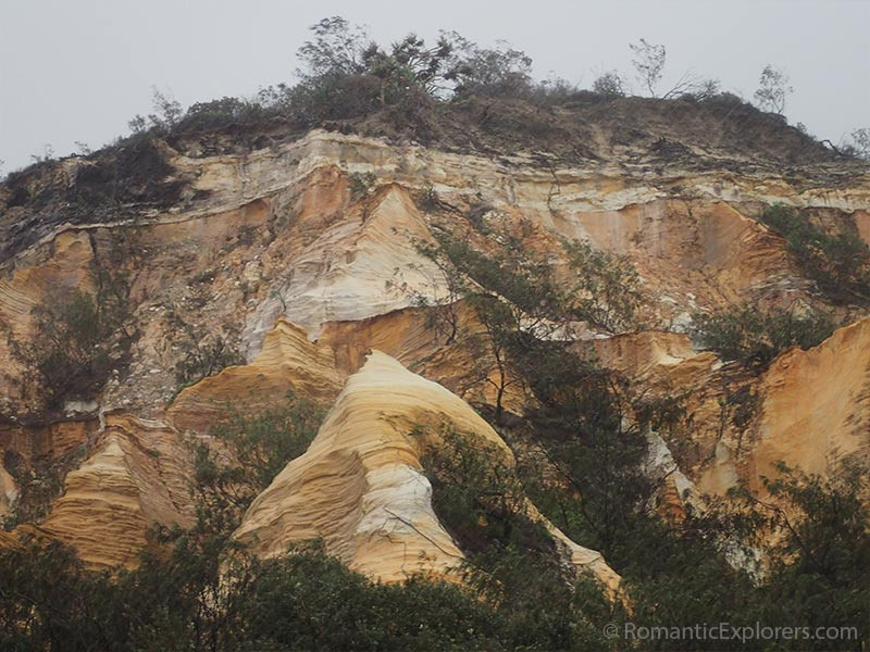 Closeup of the Pinnacles Coloured Sands of Fraser Island