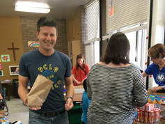 Volunteers Assembling Lunches