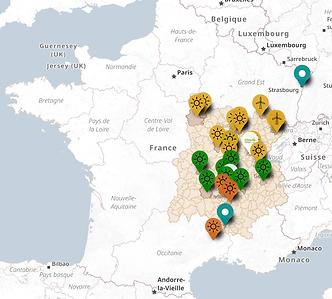 Carte des projets page accueil site web.