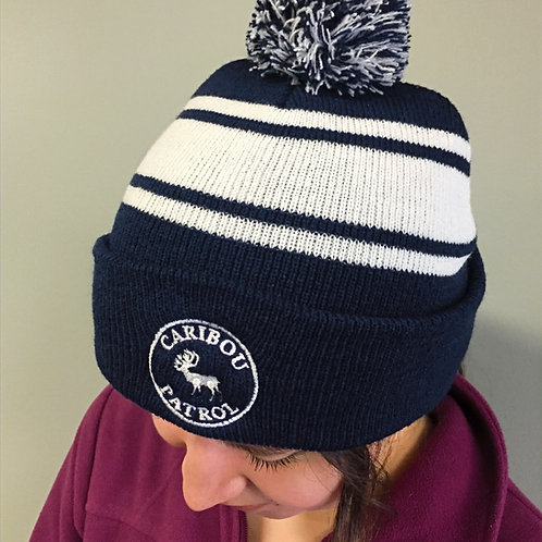 Striped Toque with Pom Pom