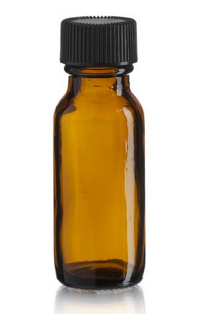 empty 1/2 oz brown glass bottle + lid