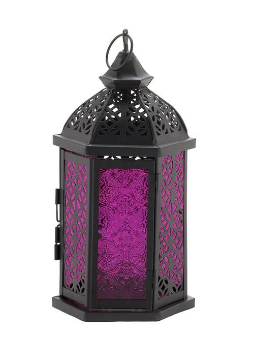 moroccan lantern | plum/black  6 sided