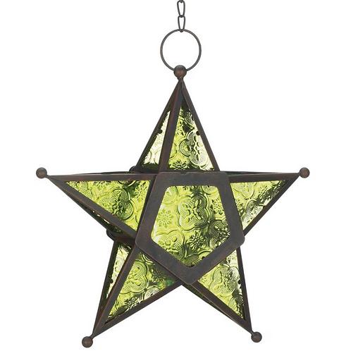 glass star lantern | apple green