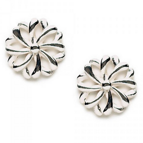 open cut swirl flower studs