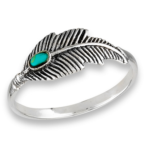 feather ring + turquoise ring