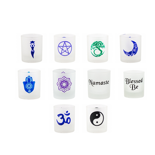Frosted Engraved Votive Cup